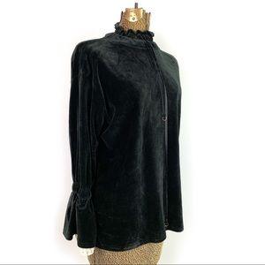 Tops - Soft Black Velour Renaissance Style Blouse